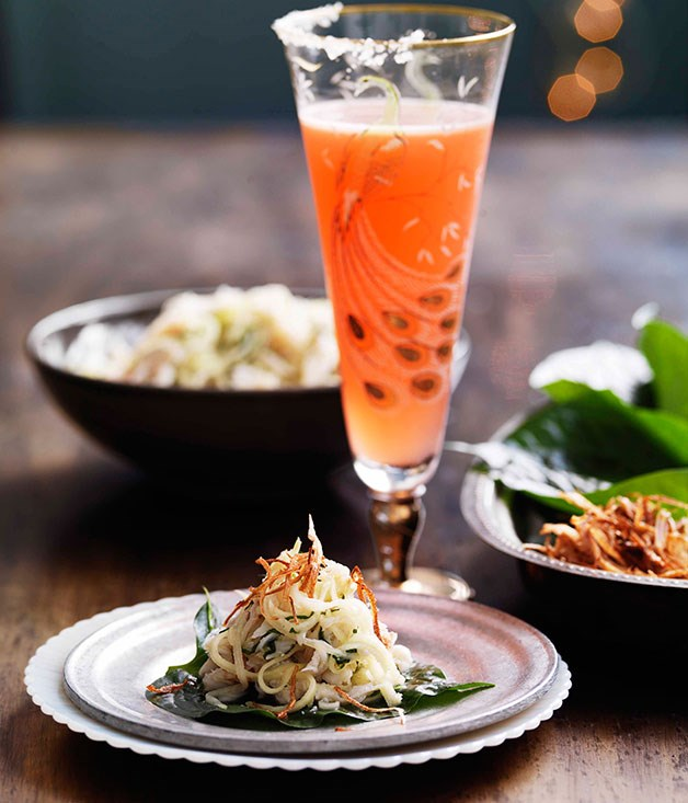 "[**Crab, coconut and kaffir lime on betel leaves**](https://www.gourmettraveller.com.au/recipes/browse-all/crab-coconut-and-kaffir-lime-on-betel-leaves-10621|target=""_blank"")"