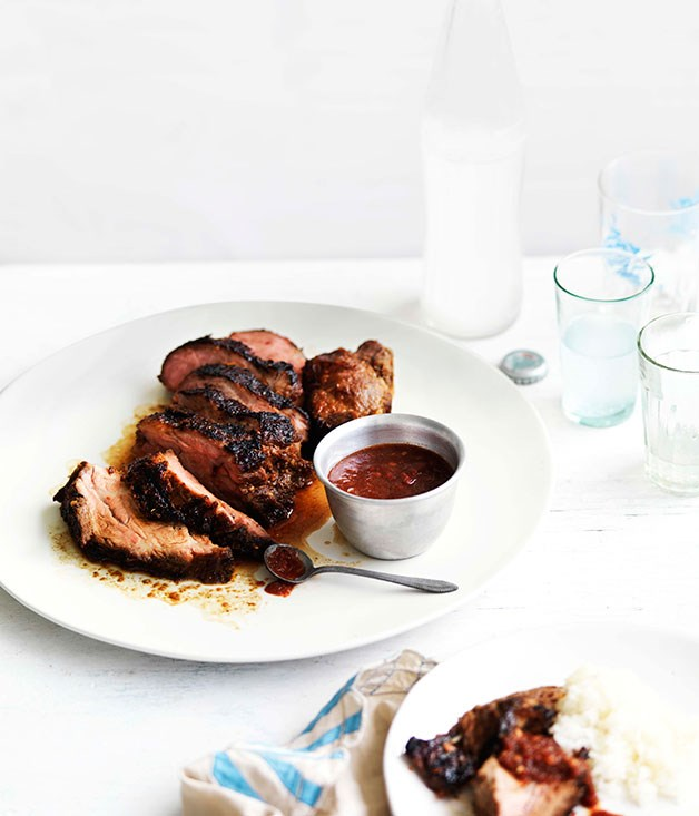 "[**Muu yang with nahm jim jaew (barbecued pork with chilli dipping sauce)**](https://www.gourmettraveller.com.au/recipes/browse-all/muu-yang-with-nahm-jim-jaew-barbecued-pork-with-chilli-dipping-sauce-11111|target=""_blank"")"
