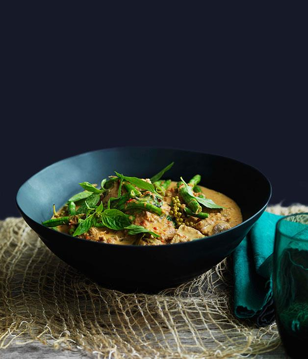 """[Pork neck, snake bean and peppercorn curry](https://www.gourmettraveller.com.au/recipes/browse-all/pork-neck-snake-bean-and-peppercorn-curry-11108