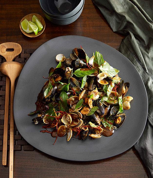 "[Mussel, clam and chilli jam salad](https://www.gourmettraveller.com.au/recipes/chefs-recipes/martin-boetz-mussel-clam-and-chilli-jam-salad-7371|target=""_blank"")"