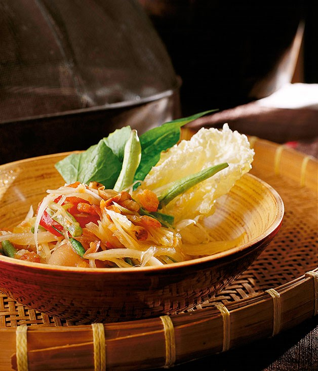 "[**Green papaya salad (Som dtam malakor)**](https://www.gourmettraveller.com.au/recipes/chefs-recipes/david-thompson-green-papaya-salad-som-dtam-malakor-7360|target=""_blank"")"
