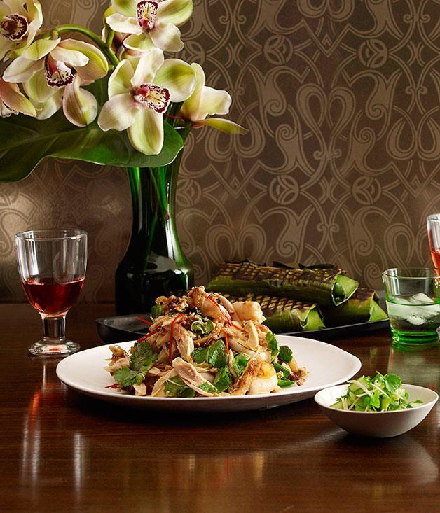 **Chicken and prawn salad with caramelised coconut and lime** **Chicken and prawn salad with caramelised coconut and lime**    [View Recipe](http://gourmettraveller.com.au/martin-boetz-chicken-and-prawn-salad-with-caramelised-coconut-and-lime.htm)     PHOTOGRAPH **CHRIS CHEN**