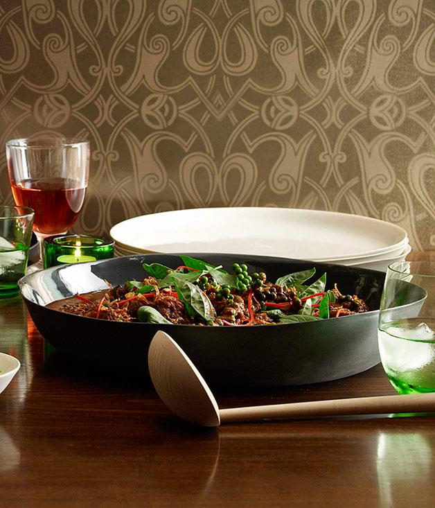"""[Red curry of beef with green peppercorns, wild ginger and holy basil](https://www.gourmettraveller.com.au/recipes/chefs-recipes/martin-boetz-red-curry-of-beef-with-green-peppercorns-wild-ginger-and-holy-basil-7366