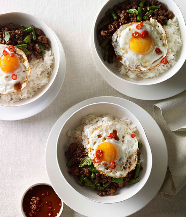 **Pork pad kra pao with fried egg**