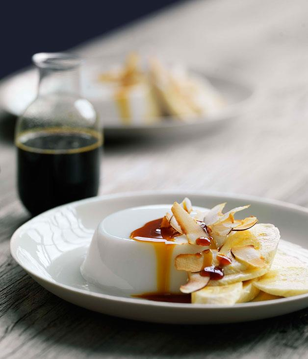 "[Coconut jellies with banana and coconut sugar caramel](https://www.gourmettraveller.com.au/recipes/browse-all/coconut-jellies-with-banana-and-coconut-sugar-caramel-11109|target=""_blank"")"