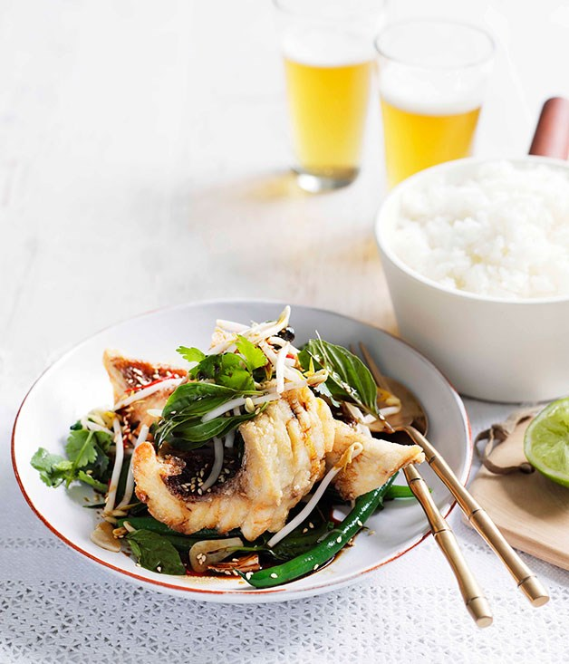 "[**Crisp snapper and snake bean salad with Thai basil, soy and ginger**](https://www.gourmettraveller.com.au/recipes/fast-recipes/crisp-snapper-and-snake-bean-salad-with-thai-basil-soy-and-ginger-13327|target=""_blank"")"