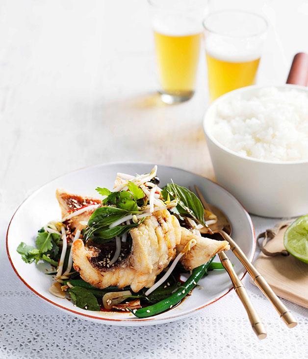 "[Crisp snapper and snake bean salad with Thai basil, soy and ginger](https://www.gourmettraveller.com.au/recipes/fast-recipes/crisp-snapper-and-snake-bean-salad-with-thai-basil-soy-and-ginger-13327|target=""_blank"")"