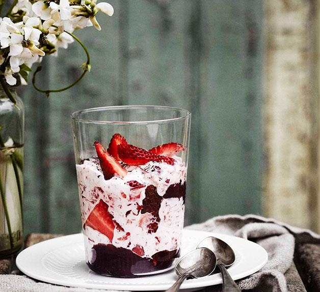 Strawberry syllabub with red wine and pepper jelly