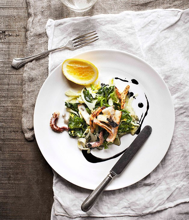 **Calamari with lemon, garlic and Ceylon spinach**
