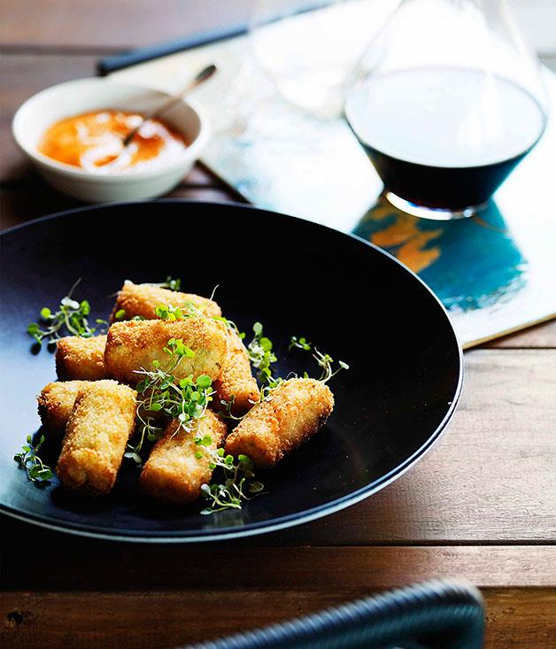 "**[Stokehouse's yabby croquettes with romesco](http://www.gourmettraveller.com.au/recipes/chefs-recipes/stokehouse-yabby-croquettes-with-romesco-7822|target=""_blank"")**"