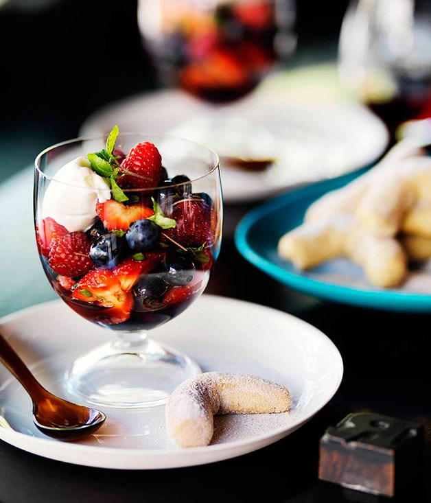 **** **Summer berries with mascarpone and shiso sorbet and five spice shortbread**    [View Recipe](http://www.gourmettraveller.com.au/bar-h-summer-berries-with-mascarpone-and-shiso-sorbet-and-five-spice-shortbread.htm)     PHOTOGRAPH **WILLLIAM MEPPEM**