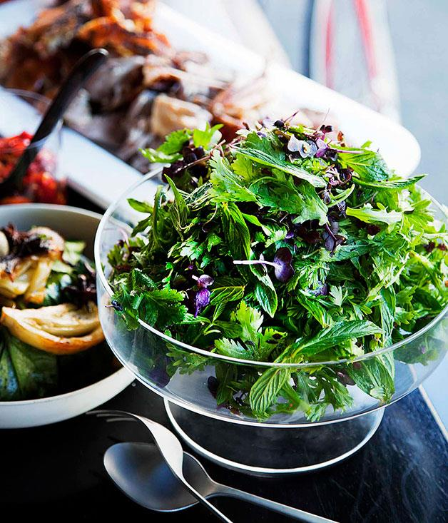 """[**Chrysanthemum and cress salad**](https://www.gourmettraveller.com.au/recipes/chefs-recipes/bar-h-chrysanthemum-and-cress-salad-7659