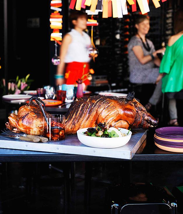 """[**Suckling pig with roast fennel and warrigal greens**](https://www.gourmettraveller.com.au/recipes/chefs-recipes/bar-h-suckling-pig-with-roast-fennel-and-warrigal-greens-7660