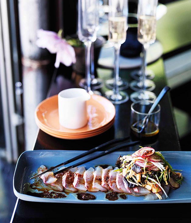 Bar H: Sashimi of striped trumpeter with mushrooms and ginger, horseradish and soy dressing