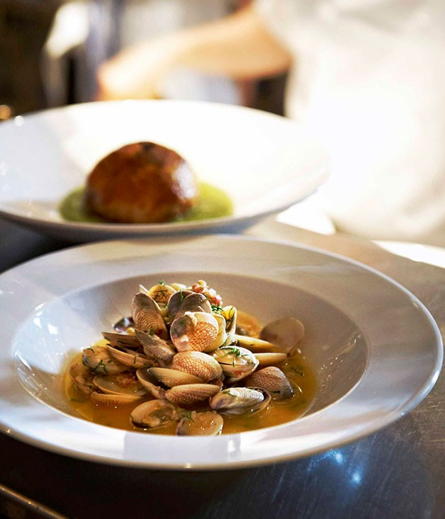 **** **Clams steamed with jamón serrano, white wine and flageolet beans**    [View Recipe](http://gourmettraveller.com.au/rockpool-bar-grill-clams-steamed-with-jamon-serrano-white-wine-and-flageolet-beans.htm)