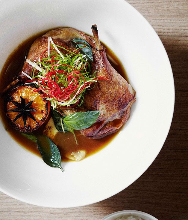 **** **Duck braised in mandarin juice and star anise with chilli, ginger and holy basil**    [View Recipe](http://gourmettraveller.com.au/dandelion-duck-braised-in-mandarin-juice-and-star-anise-with-chilli-ginger-and-holy-basil.htm)