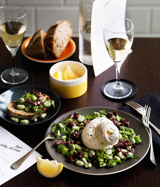 "[**Burrata with broad bean sott'olio and black olive paste**](https://www.gourmettraveller.com.au/recipes/chefs-recipes/love-tilly-devine-burrata-with-broad-bean-sottolio-and-black-olive-paste-7678|target=""_blank"")"