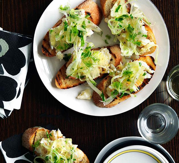 Love, Tilly Devine: Spanner crab, fennel, chilli and lemon bruschetta