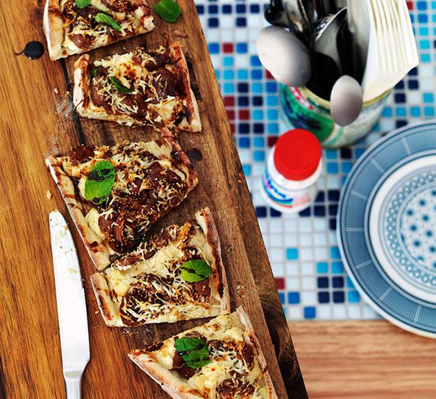 Haloumi, ricotta and peppered fig pide