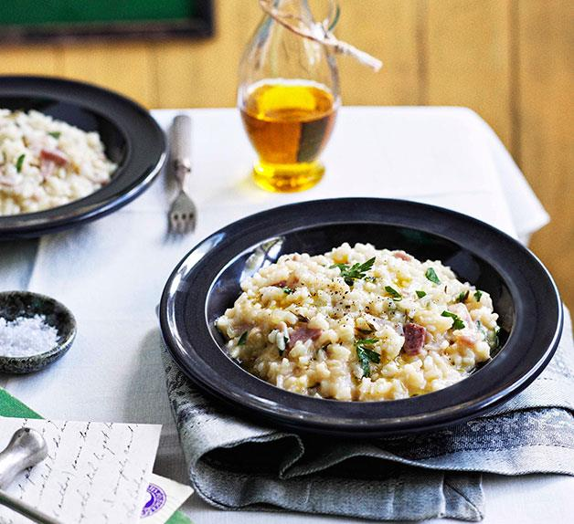 Ham, Fontina and rosemary risotto