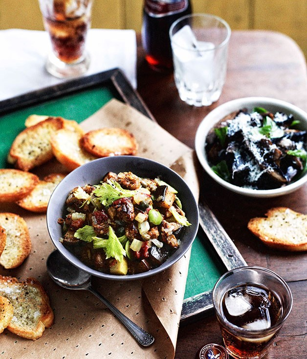 Capunata and sautéed preserved pine mushrooms with crostini