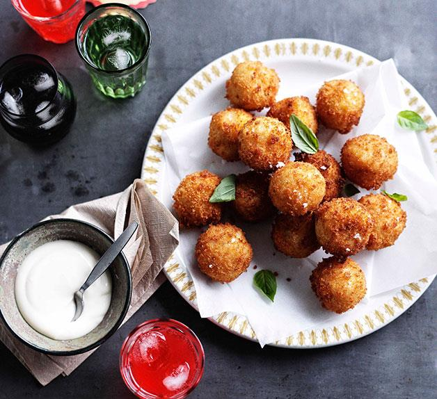 Provolone piccante arancini with thyme and garlic aioli
