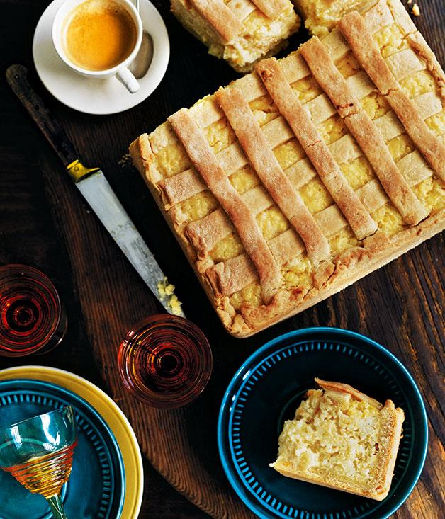 "**[Torta di riso (sweet rice pie)](https://www.gourmettraveller.com.au/recipes/chefs-recipes/torta-di-riso-sweet-rice-pie-7742|target=""_blank"")**"