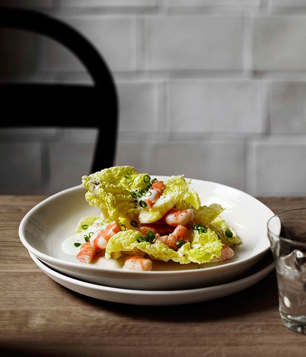 Andrew McConnell: White cabbage, poached prawns and Kampot pepper