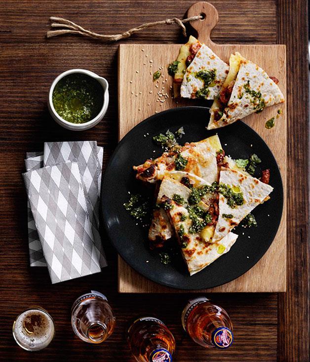 "[**Blackjack quesadillas**](https://www.gourmettraveller.com.au/recipes/chefs-recipes/blackjack-quesadillas-7768|target=""_blank"")"