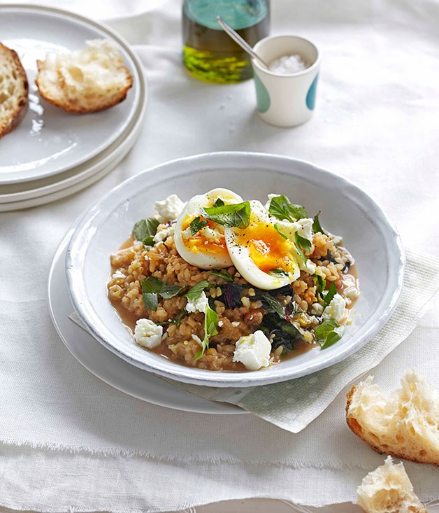 Braised rainbow silverbeet with brown rice, feta and egg