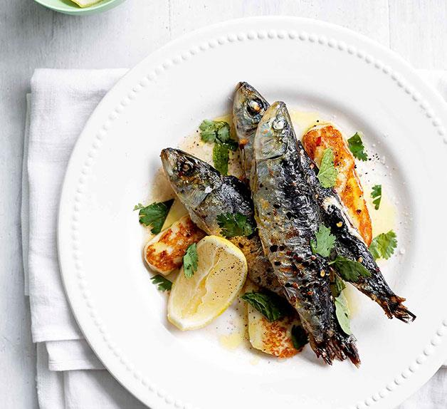 February: sardines grilled with chilli, haloumi and mint