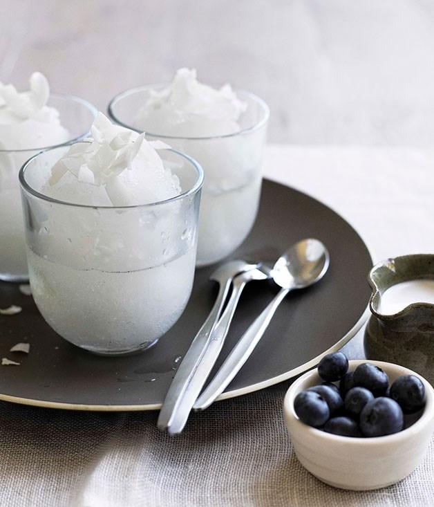 **Elderflower ice with blueberry and coconut** **Elderflower ice with blueberry and coconut**    [View Recipe](http://www.gourmettraveller.com.au/elderflower-ice-with-blueberry-and-coconut.htm)