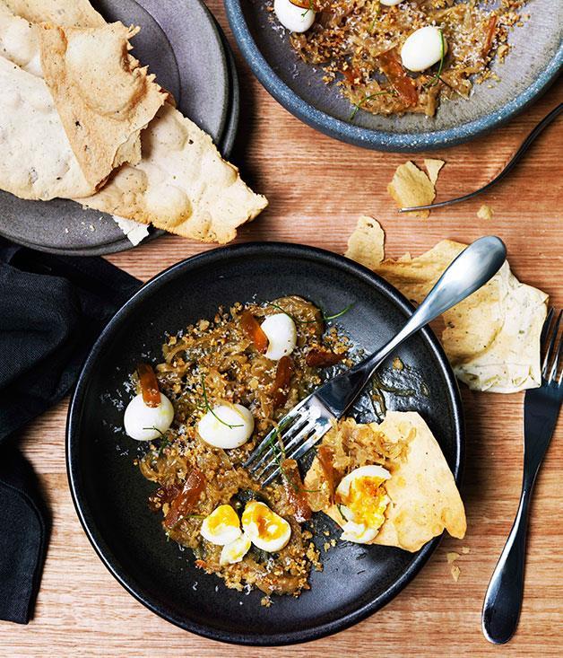 **Quail eggs with braised onions and bottarga** **Quail eggs with braised onions and bottarga**    [View Recipe](http://gourmettraveller.com.au/quail-eggs-with-braised-onions-and-bottarga.htm)     PHOTOGRAPH **WILLIAM MEPPEM**