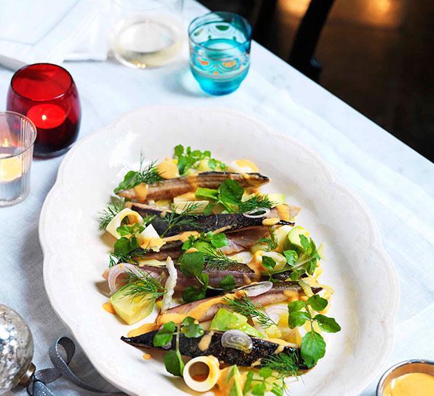 Smoked mackerel with palm heart salad and salsa golf