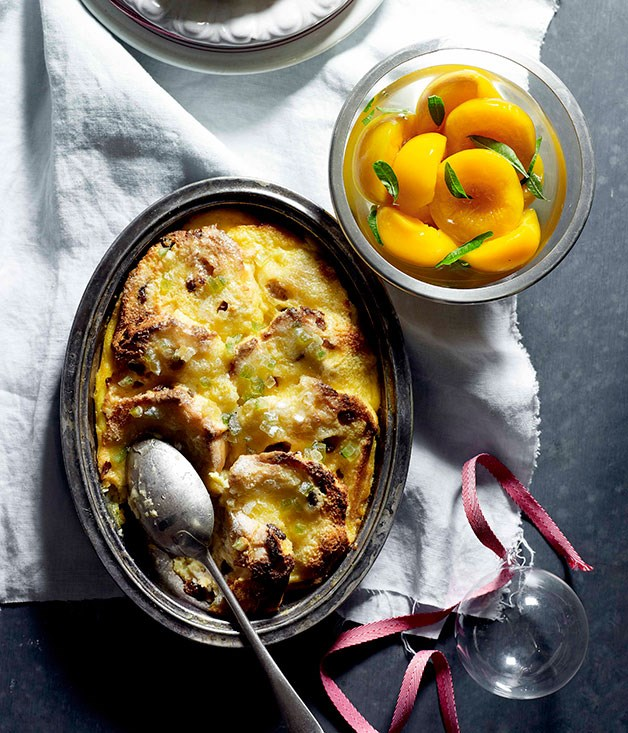 **Panettone bread and butter pudding with poached peaches**