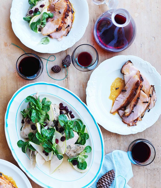 Justin North: Slow-cooked turkey breast with mâche, pear and cranberry salad