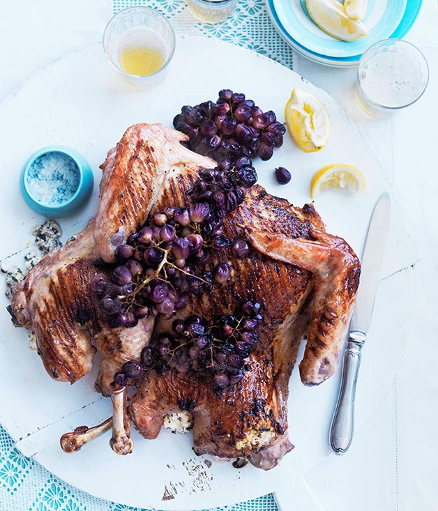 Whole barbecued turkey with buffalo ricotta and blistered grapes