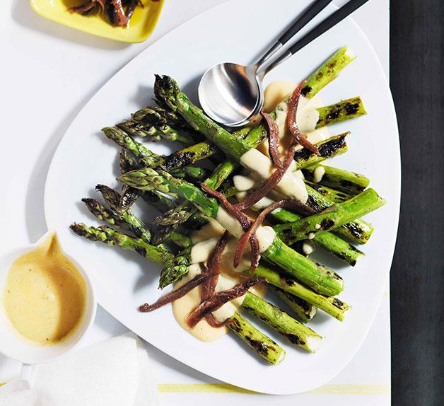 Grilled asparagus with parmesan cream and anchovies