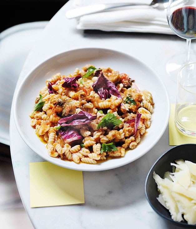 **Malloreddus with pork sausage and radicchio** **Malloreddus with pork sausage and radicchio**    [View Recipe](http://gourmettraveller.com.au/malloreddus-with-pork-sausage-and-radicchio.htm)     PHOTOGRAPH **WILLIAM MEPPEM**