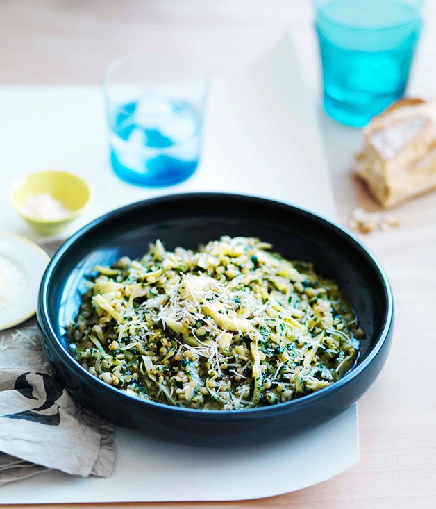 **Pearl barley with artichokes, pecorino and nettle butter**