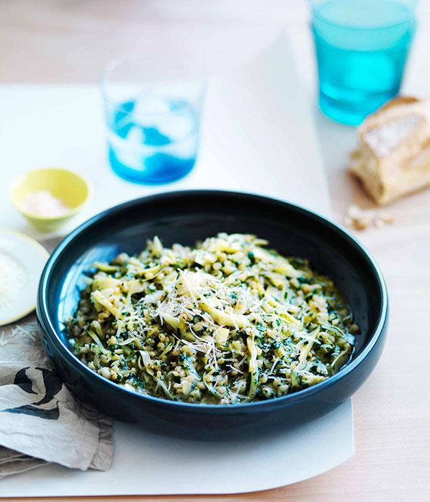 "[**Pearl barley with artichokes, pecorino and nettle butter**](https://www.gourmettraveller.com.au/recipes/chefs-recipes/pearl-barley-with-artichokes-pecorino-and-nettle-butter-7523|target=""_blank"")"