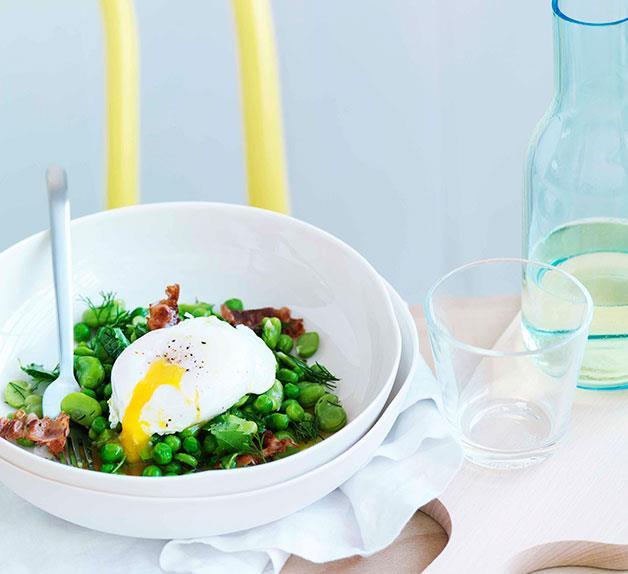 Broad bean, crisp pancetta and poached egg salad