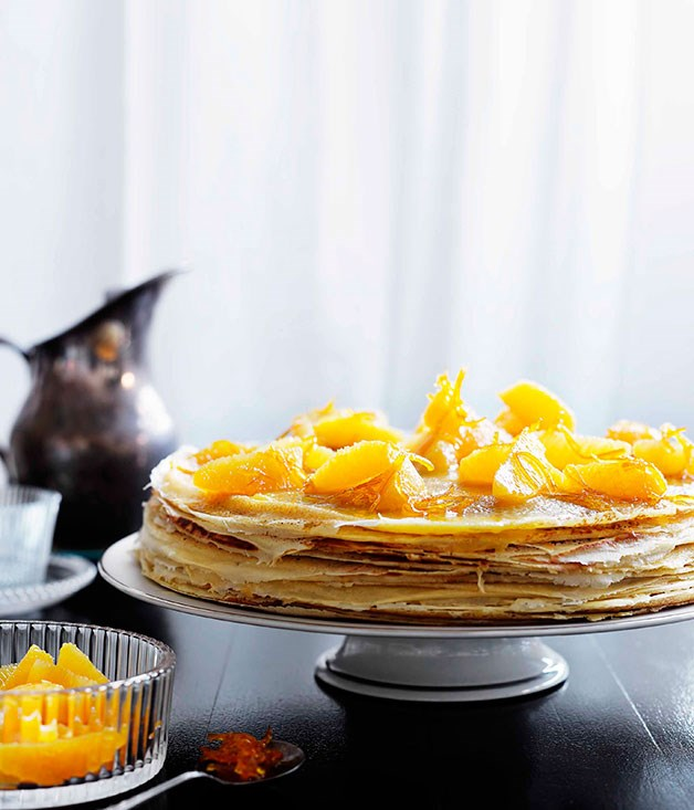 Crêpe cake with Suzette sauce