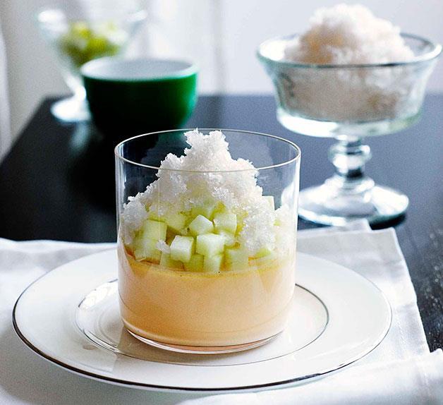Vanilla custard with ginger granita and Granny Smith apple
