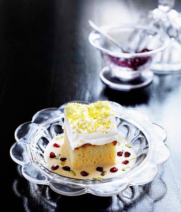 """[**Milk cake with pomegranate and pistachio**](http://gourmettraveller.com.au/milk-cake-with-pomegranate-and-pistachio.htm
