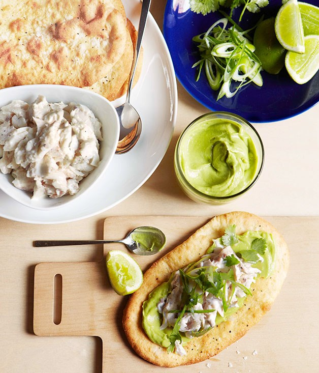 Shredded snapper, lime, coriander and avocado flatbread