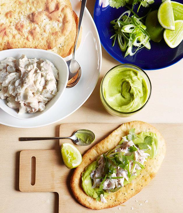 "[**Shredded snapper, lime, coriander and avocado flatbread**](https://www.gourmettraveller.com.au/recipes/chefs-recipes/shredded-snapper-lime-coriander-and-avocado-flatbread-7541 target=""_blank"")"