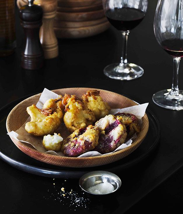"**[Supermaxi's battered beetroot and cauliflower](https://www.gourmettraveller.com.au/recipes/chefs-recipes/battered-beetroot-and-cauliflower-7546|target=""_blank"")**"
