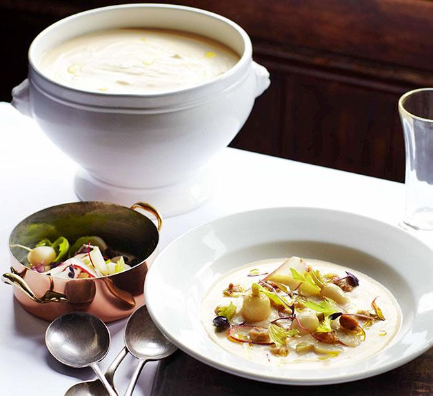Swede soup with pickled hazelnuts and turnips