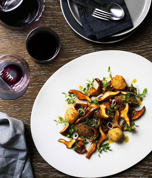 """[**Pine mushroom salad with Gruyère beignets**](https://www.gourmettraveller.com.au/recipes/chefs-recipes/pine-mushroom-salad-with-gruyere-beignets-7565